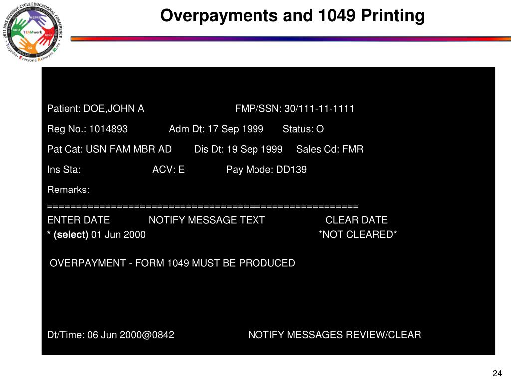 Overpayments and 1049 Printing