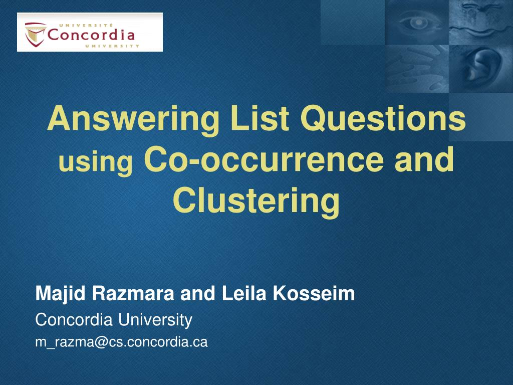 answering list questions using co occurrence and clustering l.