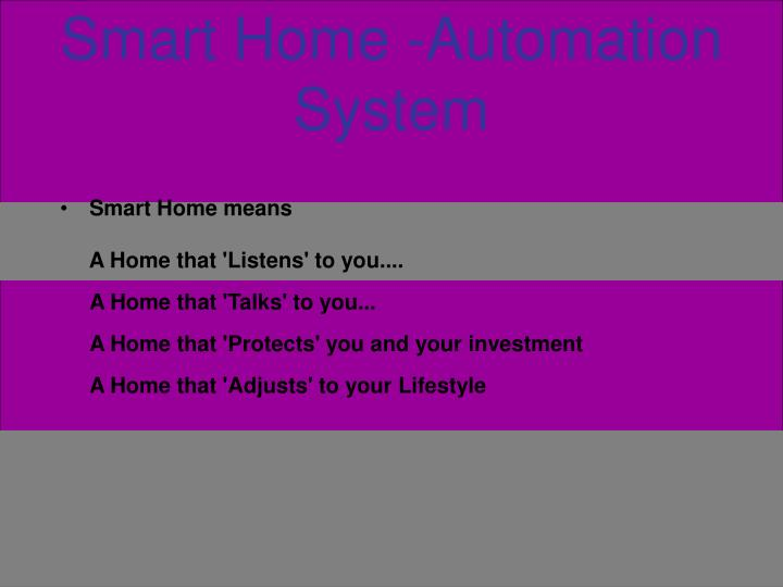 smart home automation system n.