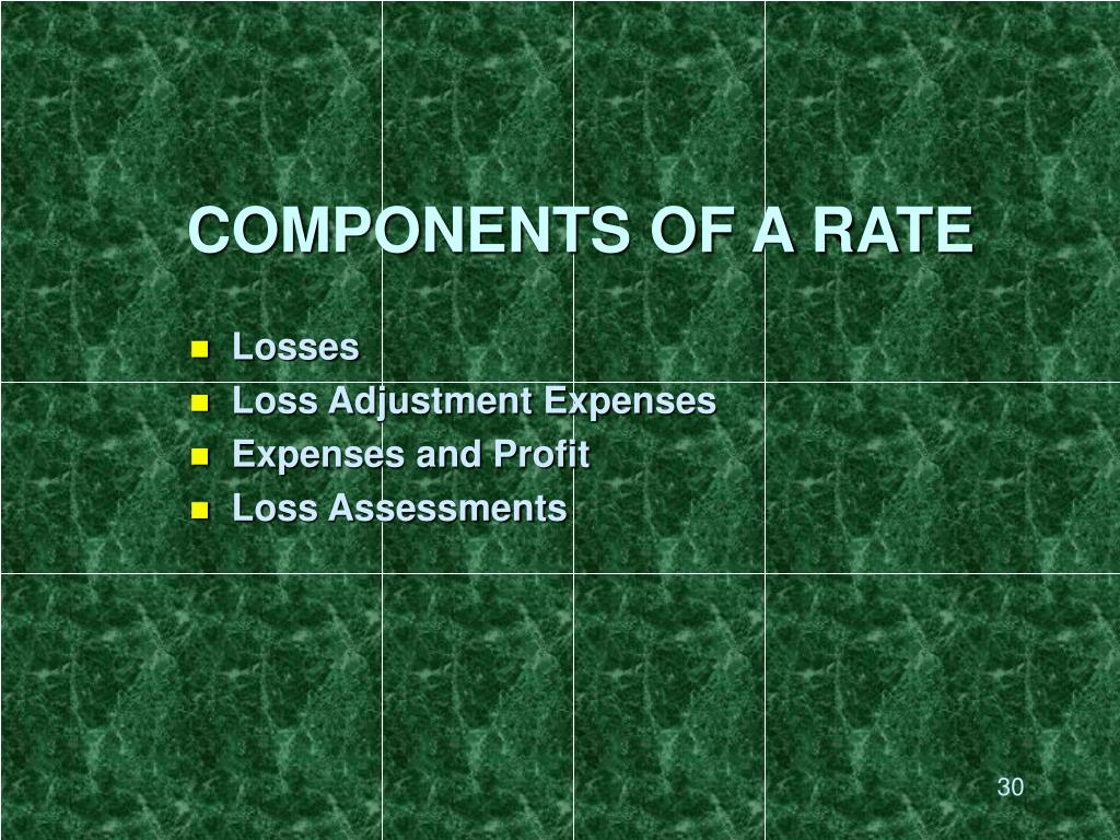 COMPONENTS OF A RATE