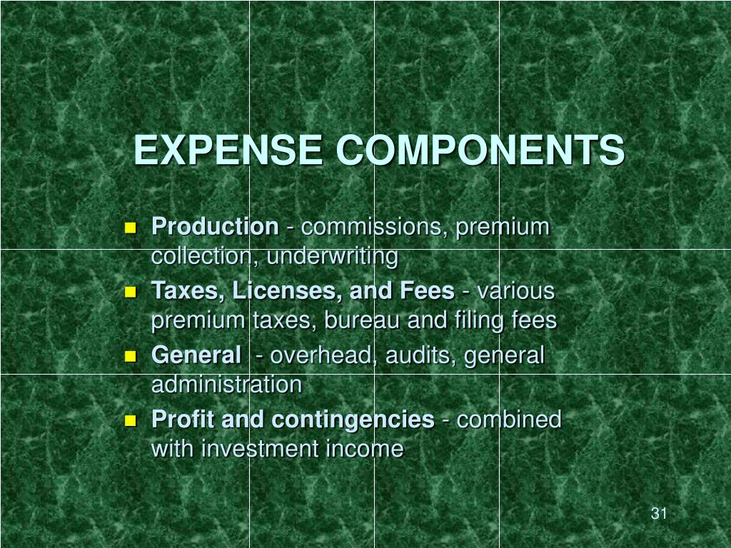 EXPENSE COMPONENTS
