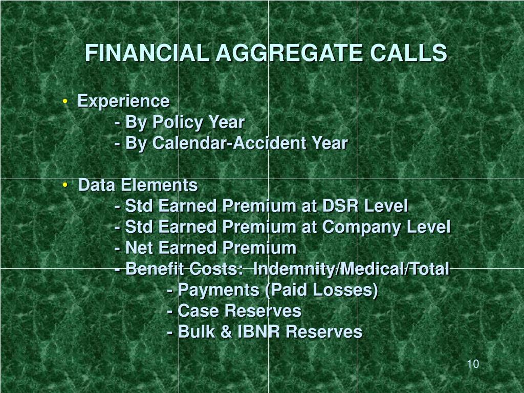 FINANCIAL AGGREGATE CALLS