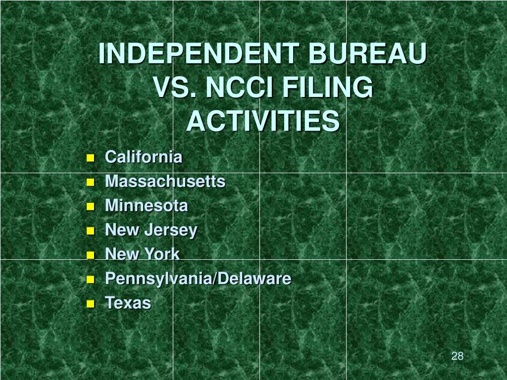 INDEPENDENT BUREAU VS. NCCI FILING ACTIVITIES