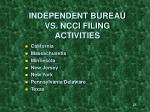 independent bureau vs ncci filing activities
