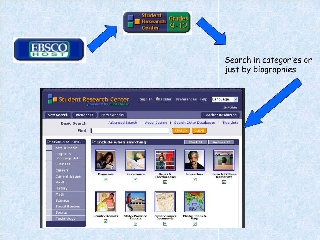 Search in categories or just by biographies