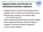 opportunities and threats for statistical business registers