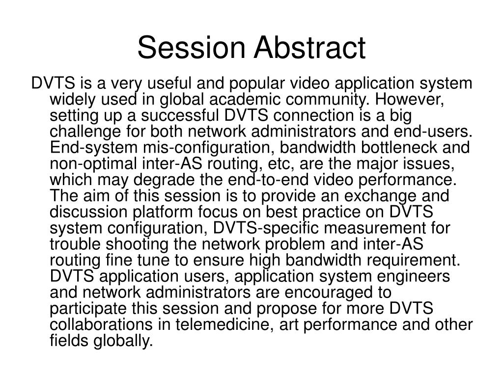 Session Abstract