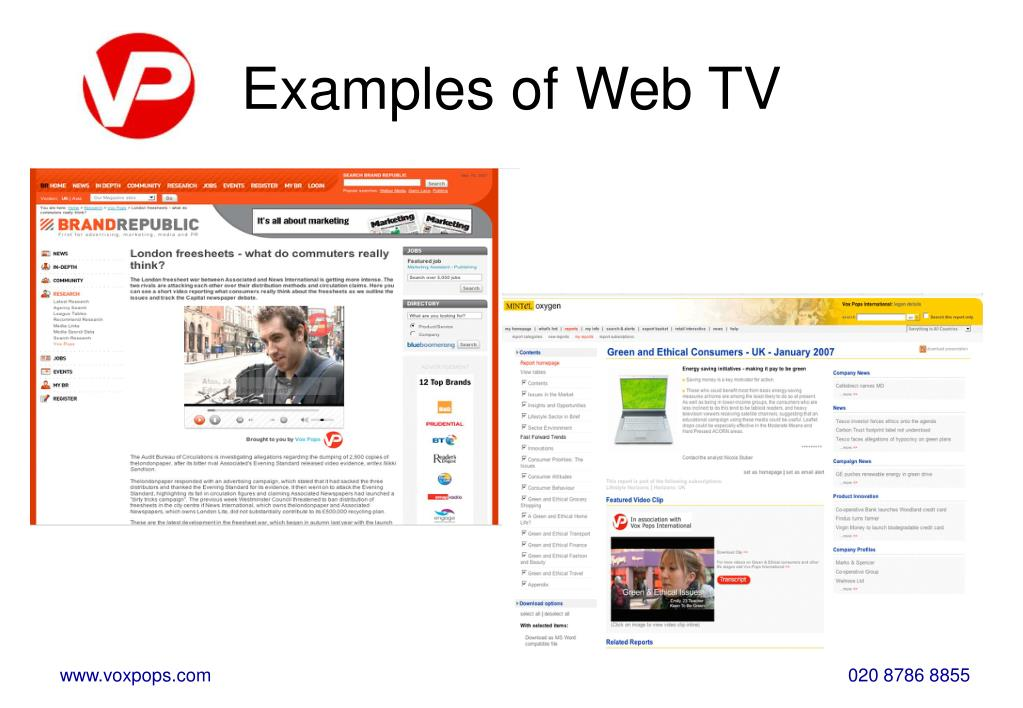 Examples of Web TV