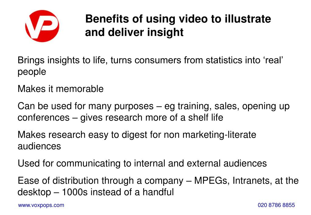 Benefits of using video to illustrate and deliver insight