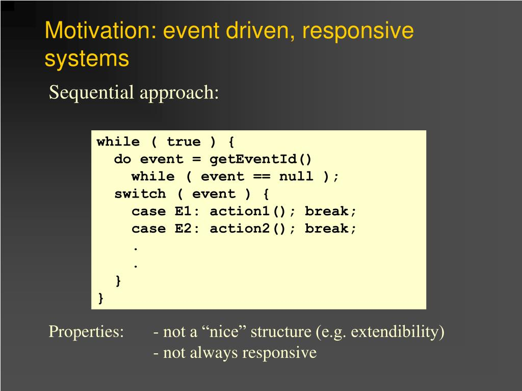 Motivation: event driven, responsive systems