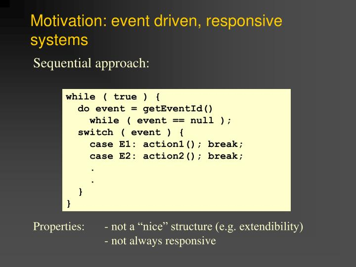 Motivation event driven responsive systems