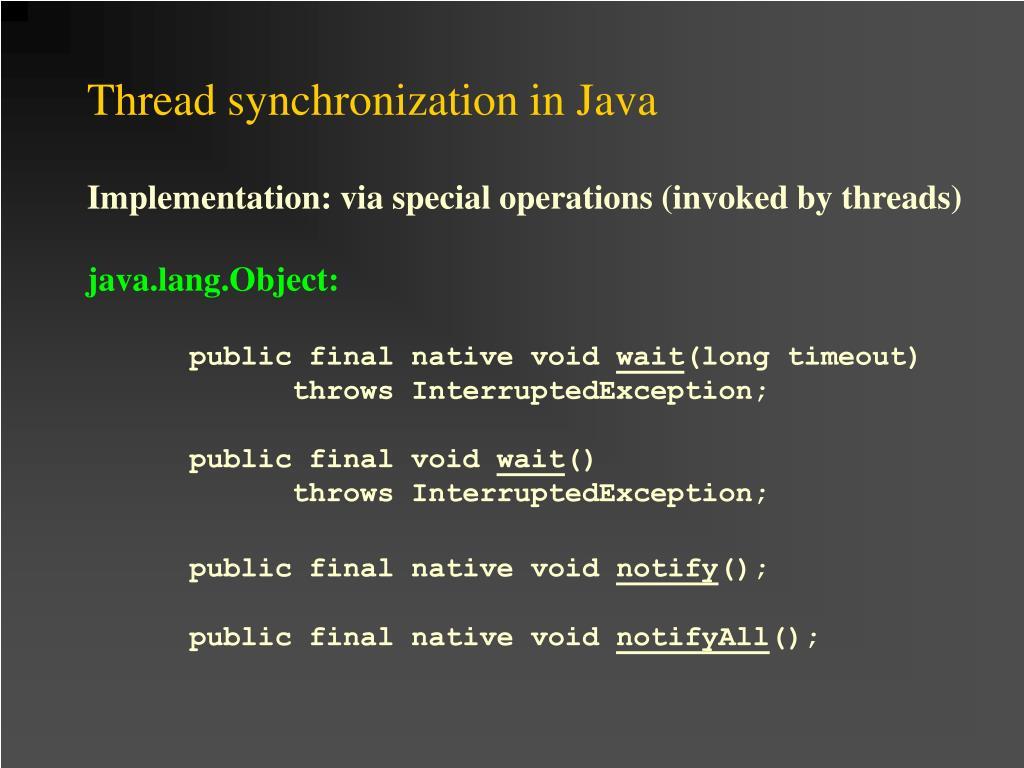 Thread synchronization in Java