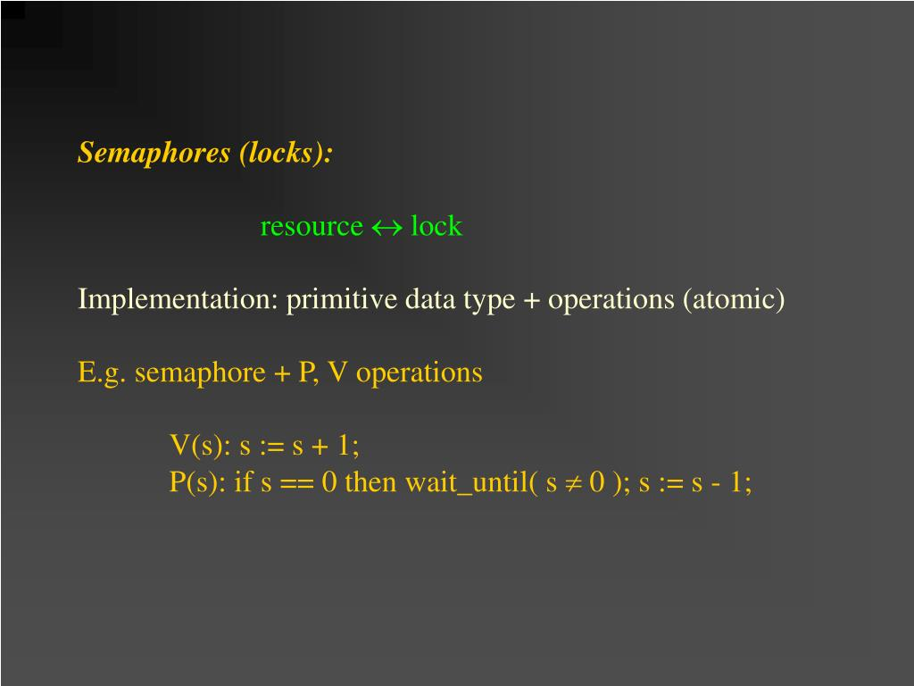 Semaphores (locks):