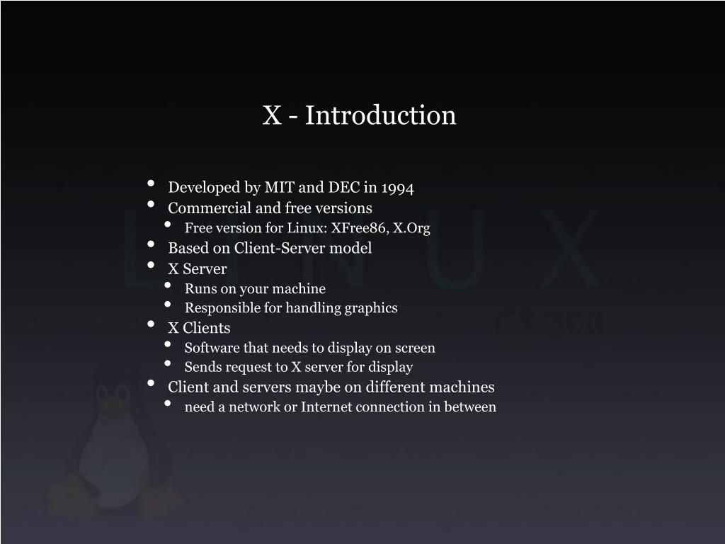 X - Introduction
