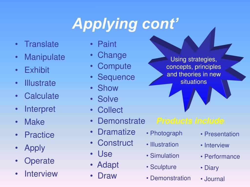 Applying cont'