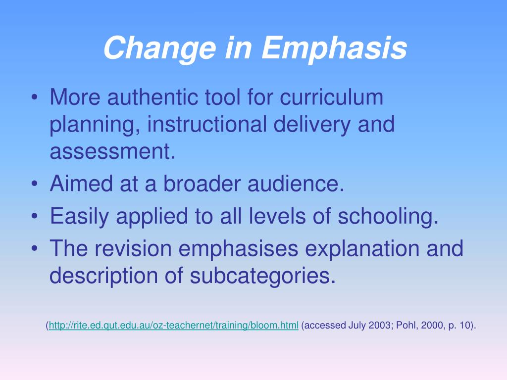 Change in Emphasis