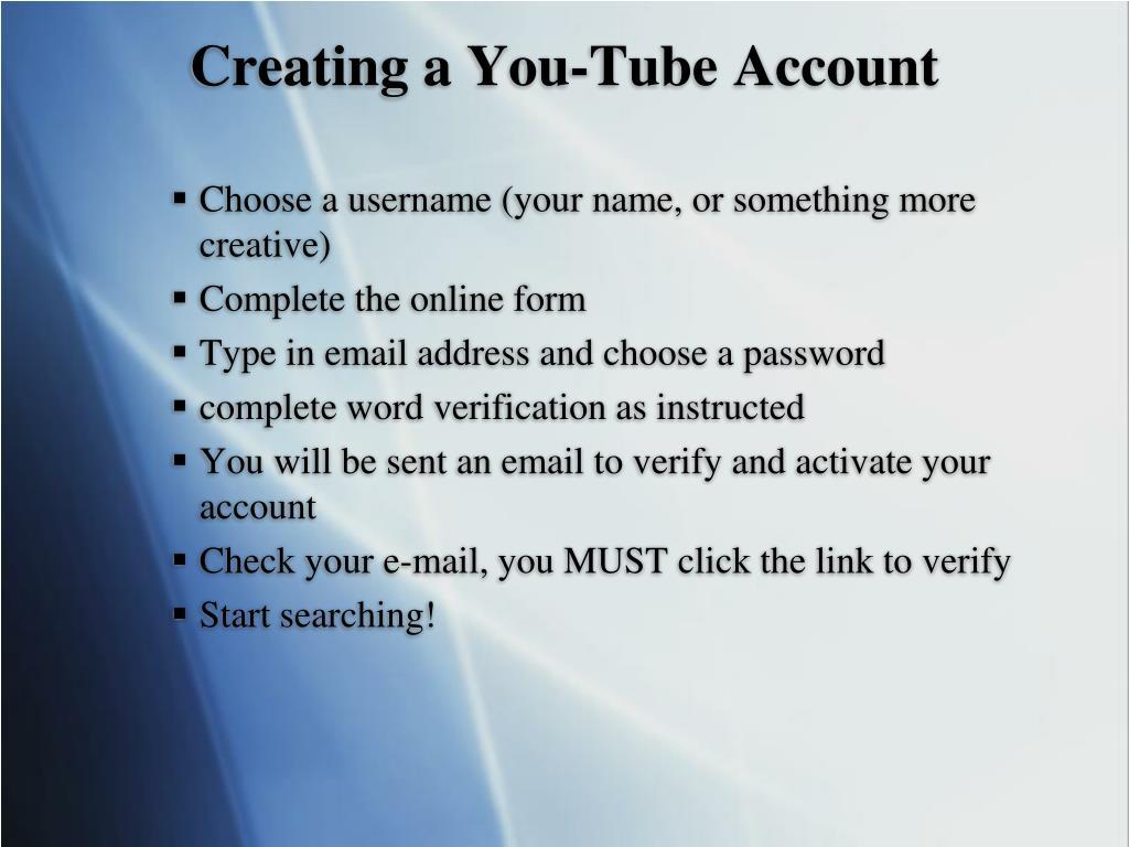 Creating a You-Tube Account