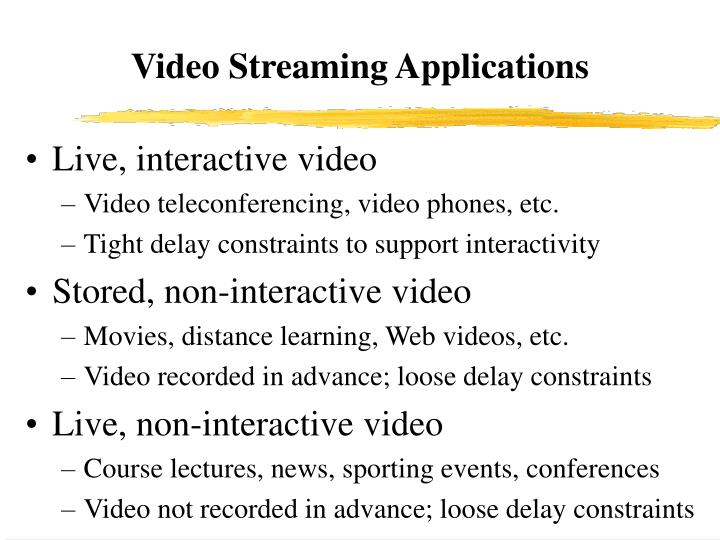 Video streaming applications