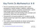 key points in mathematics k 8
