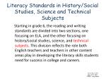 literacy standards in history social studies science and technical subjects