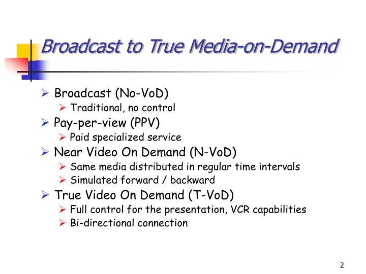 Broadcast to true media on demand