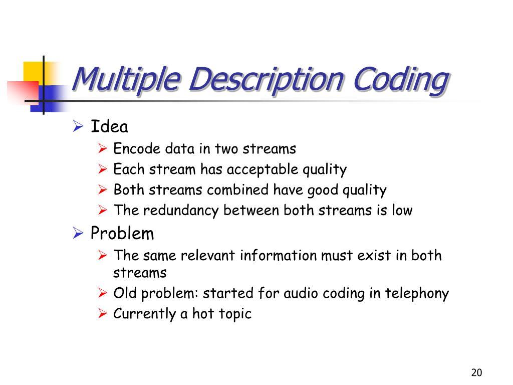 Multiple Description Coding