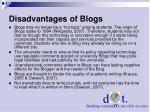 disadvantages of blogs