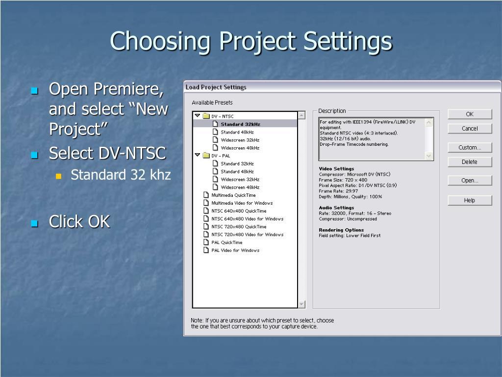 Choosing Project Settings