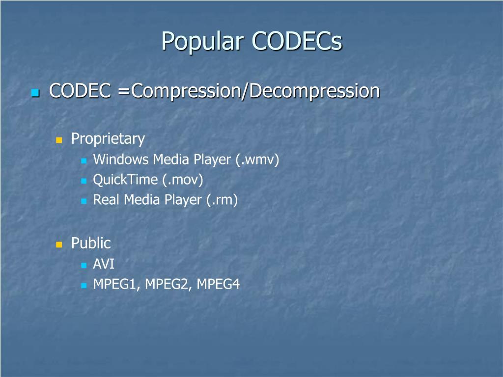 Popular CODECs