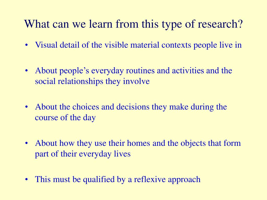 What can we learn from this type of research?