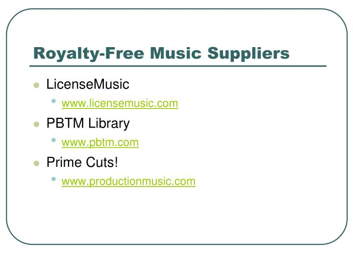 Royalty free music suppliers