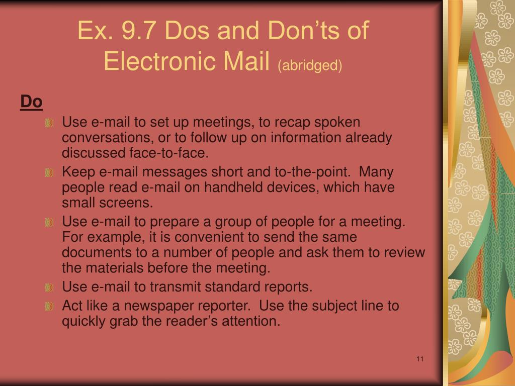 Ex. 9.7 Dos and Don'ts of Electronic Mail