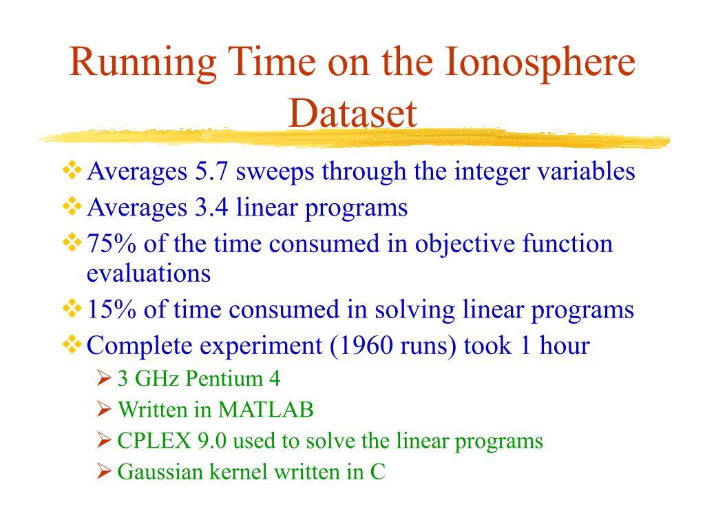 Running Time on the Ionosphere Dataset