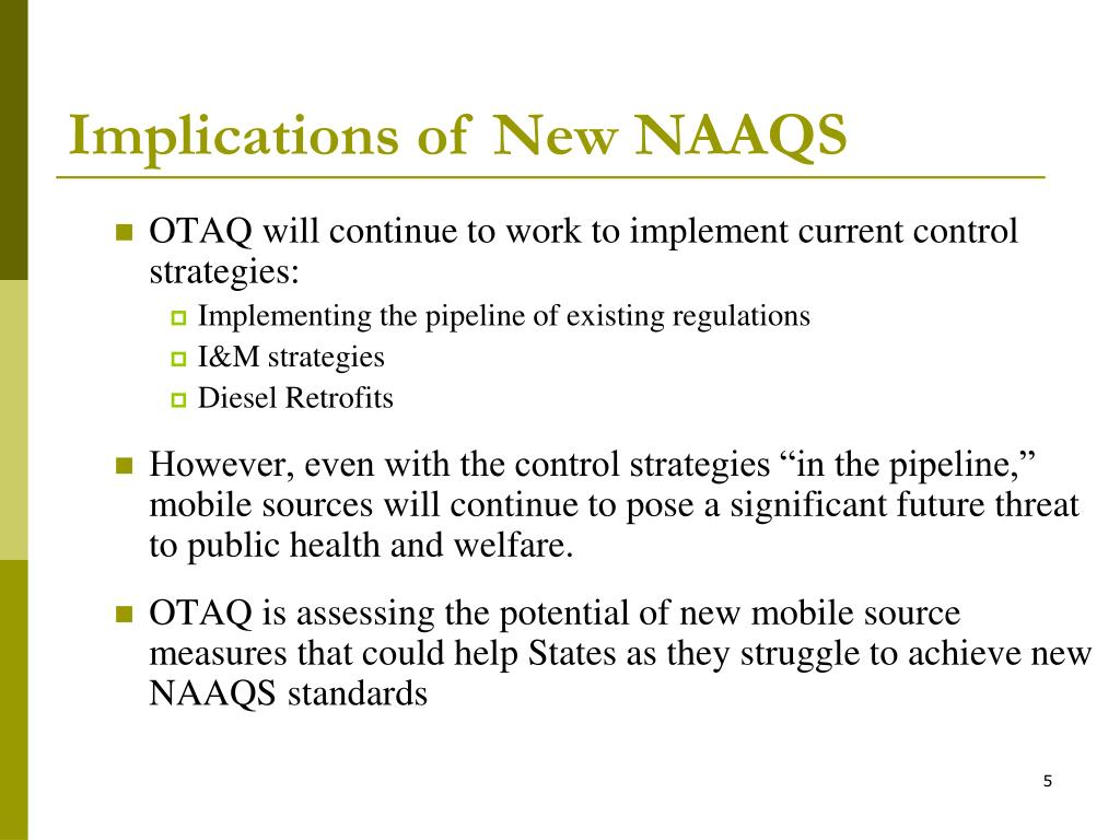 Implications of New NAAQS
