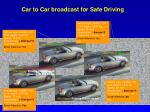 car to car broadcast for safe driving