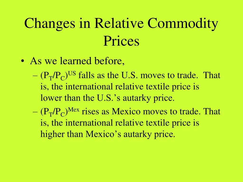 Changes in Relative Commodity Prices