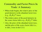 commodity and factor prices in trade a summary
