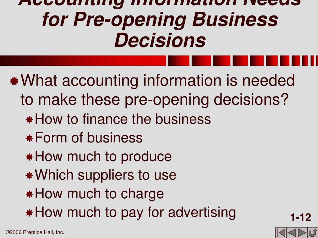 Accounting Information Needs for Pre-opening Business Decisions
