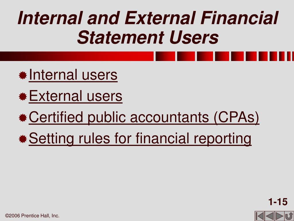 Internal and External Financial Statement Users