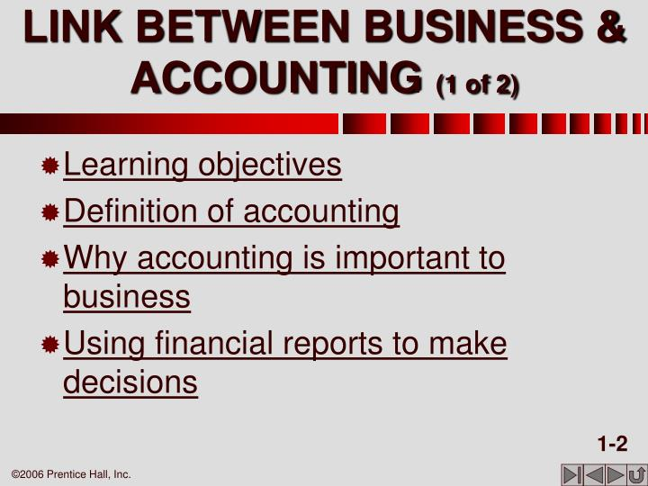 Link between business accounting 1 of 2