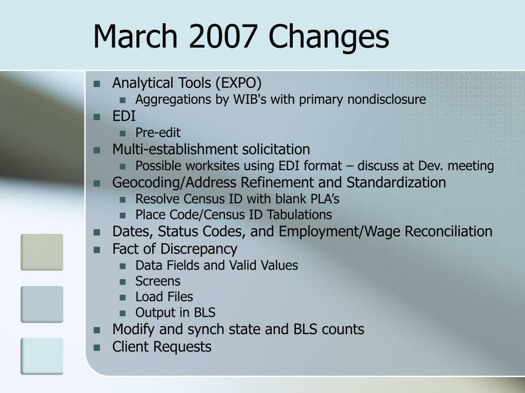 March 2007 Changes