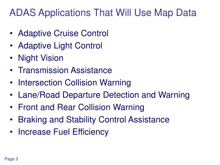 Adas applications that will use map data