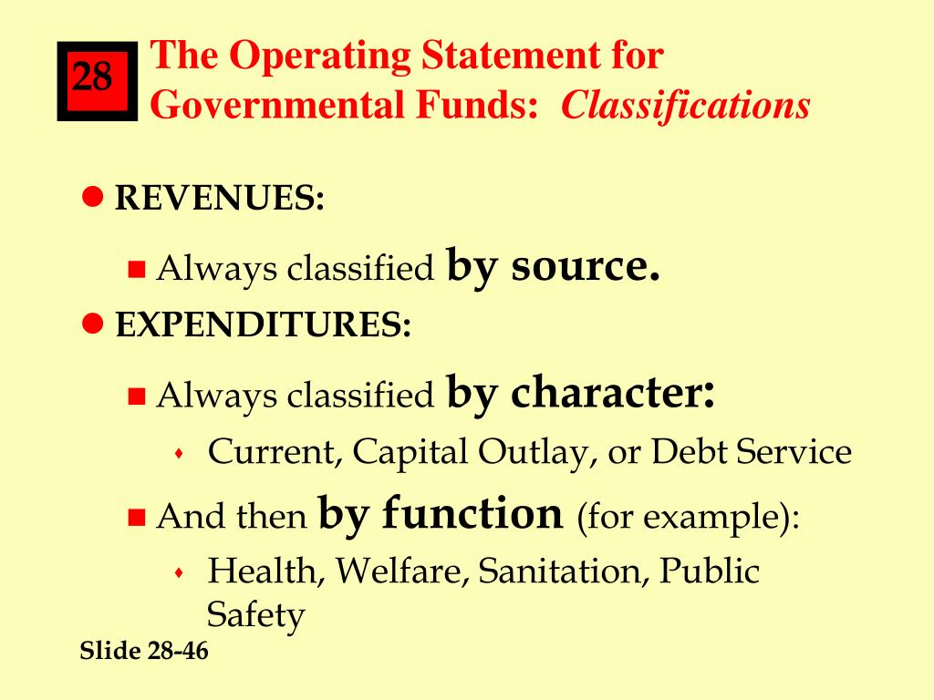 The Operating Statement for Governmental Funds: