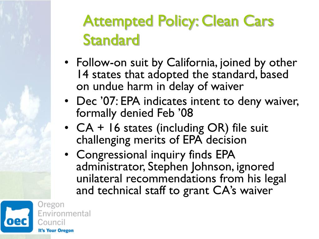 Attempted Policy: Clean Cars Standard