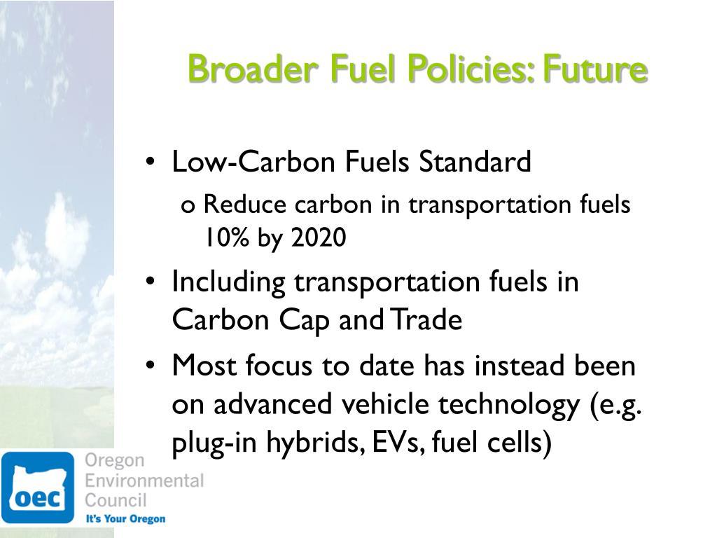 Broader Fuel Policies: Future