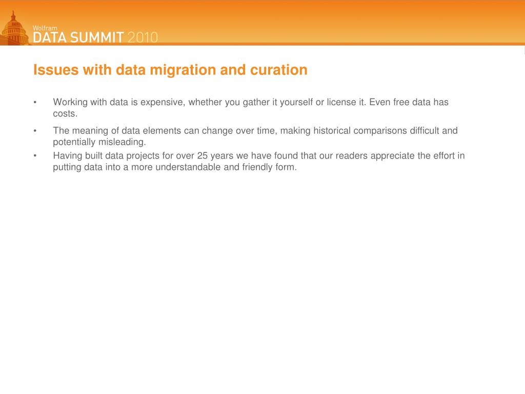 Issues with data migration and curation