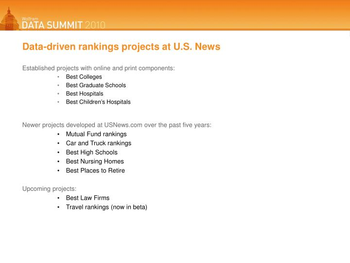 Data-driven rankings projects at U.S. News