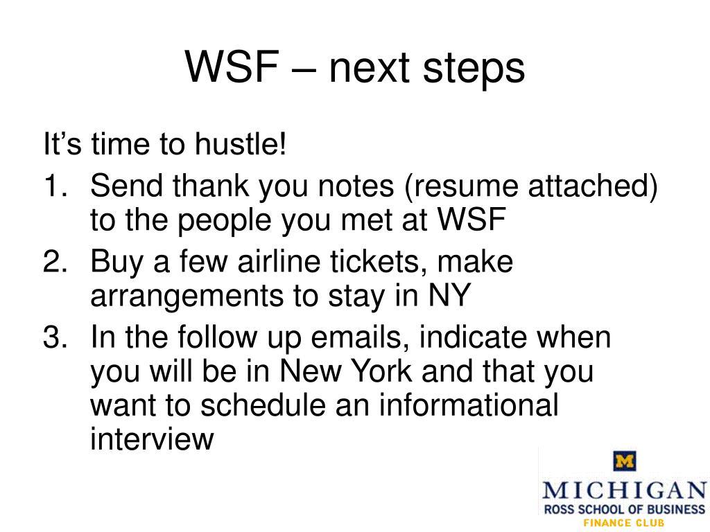 WSF – next steps