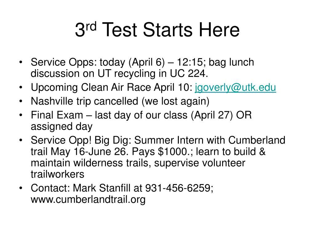 3 rd test starts here l.