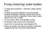 fixing restoring water bodies